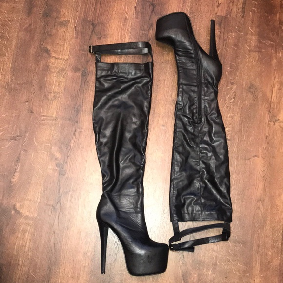Thigh High Leather Platform Boots